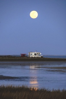 The Mystic Travelers under the full moon at Scammons Lagoon in Baja